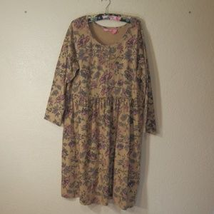 Woman Within Dress Size 1X Floral Tan Pink Flowers